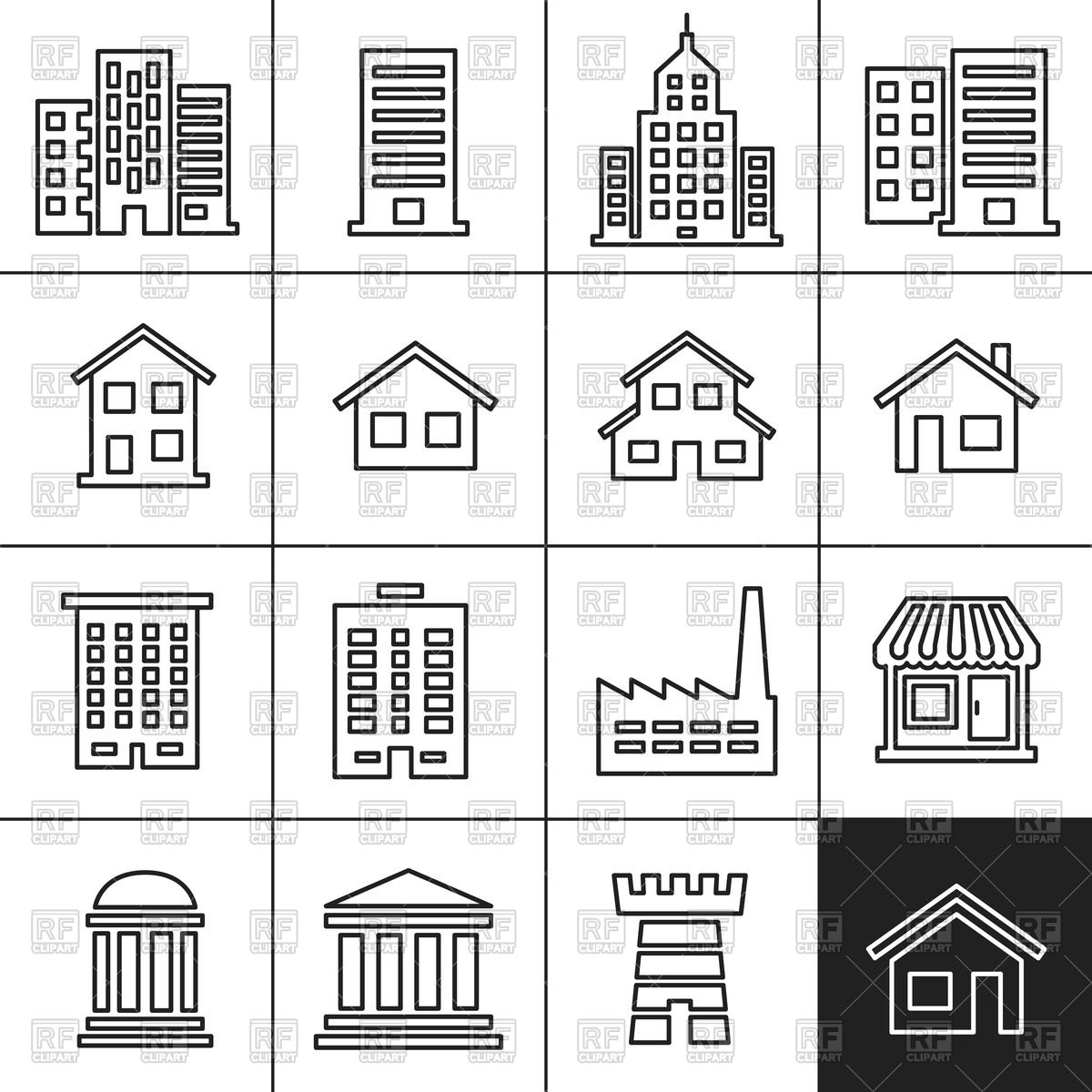 Icons of buildings of different architecture types Vector Image.