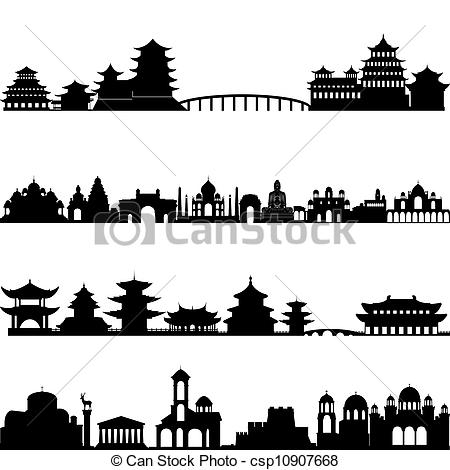 Clip Art Vector of Architecture Asia.