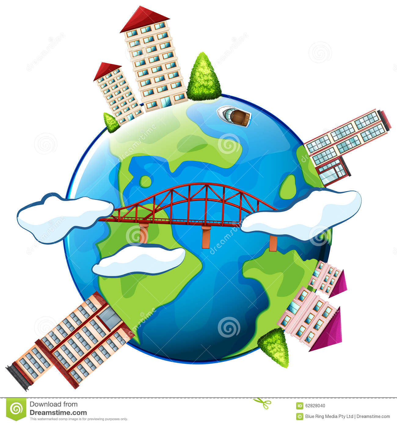 Buildings Around The World Stock Vector.