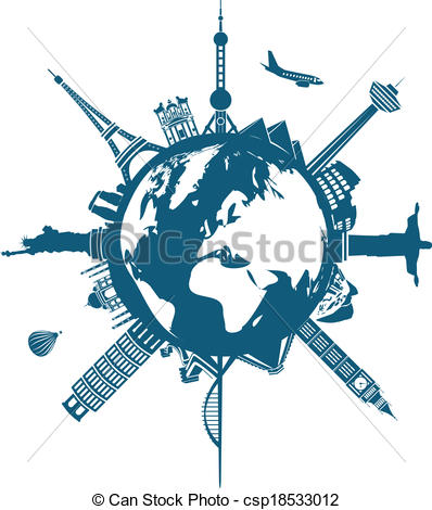 Vector Clip Art of world buildings on the Earth csp18533012.