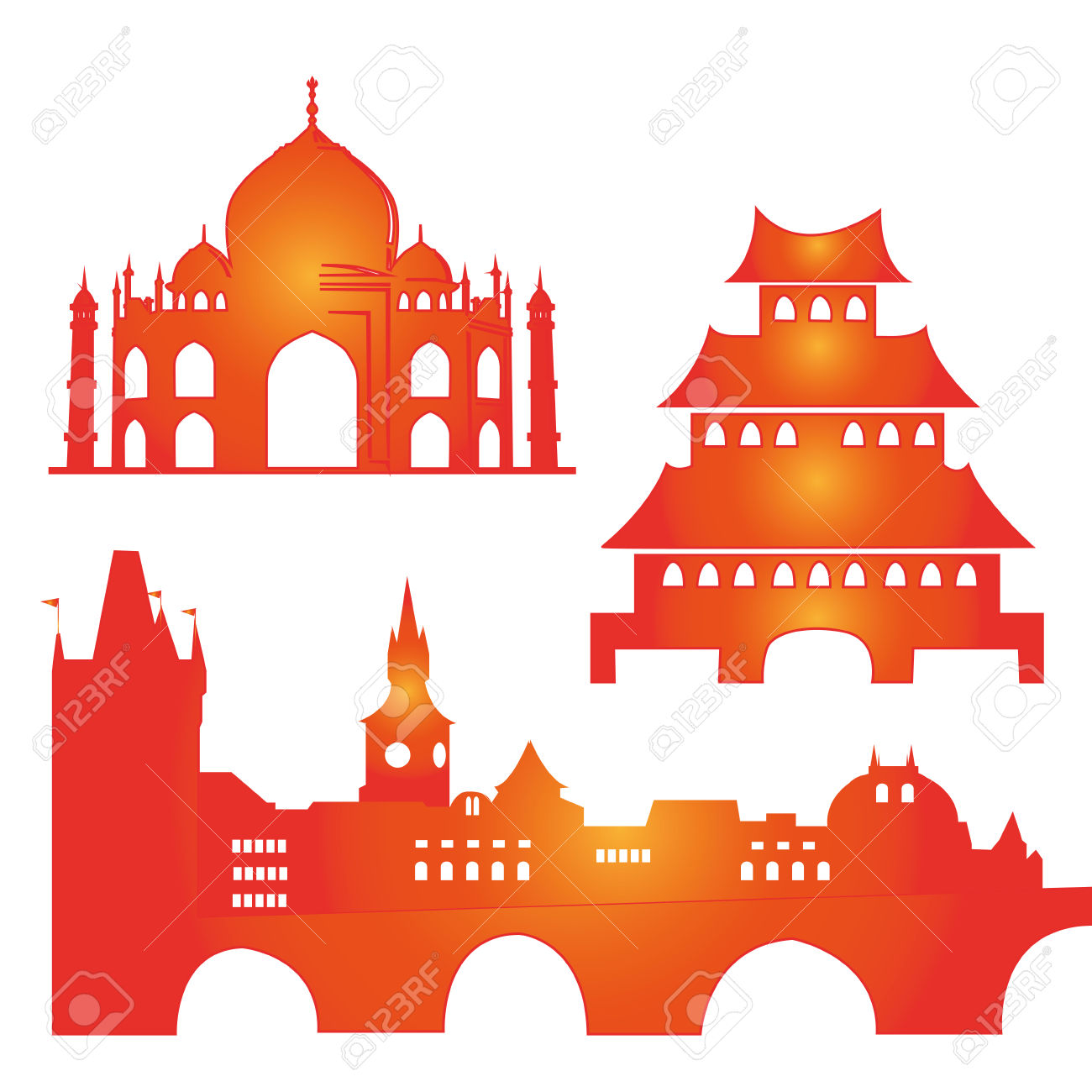 Three Colored Silhouettes Of Famous Buildings Around The World.