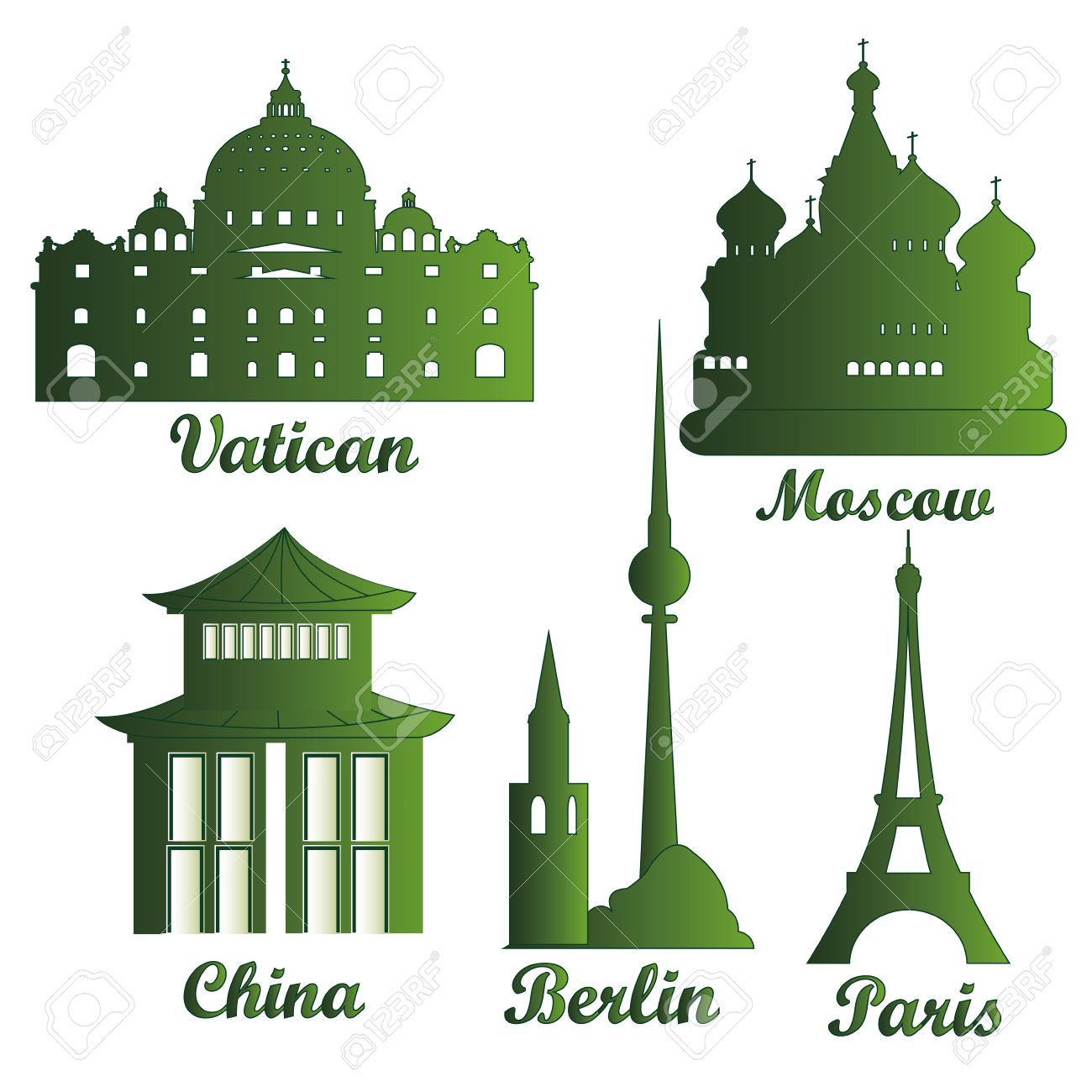 Some Green Silhouettes Of Famous Buildings Around The World.