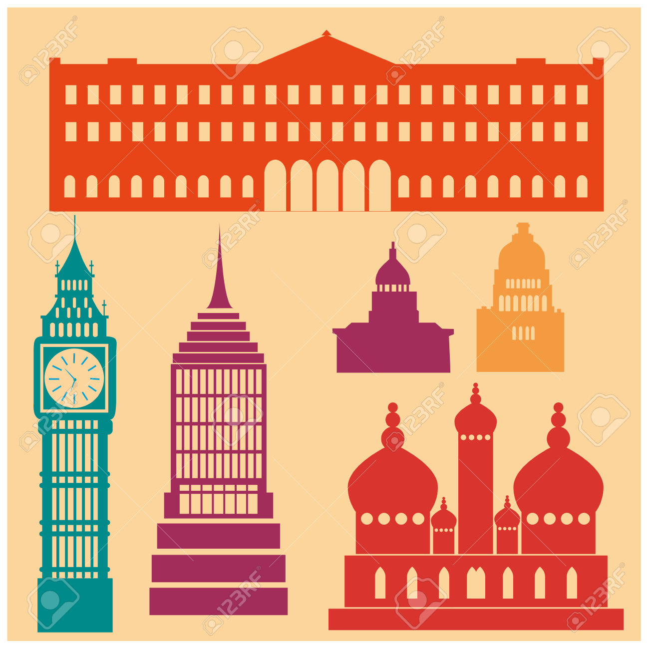 Some Colored Silhouettes Of Famous Buildings Around The World.