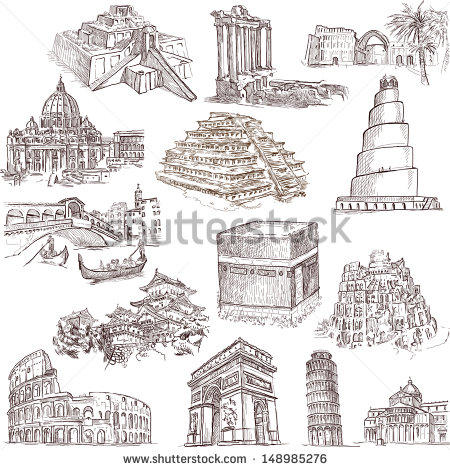 Famous Places Buildings Architecture Around World Stock.
