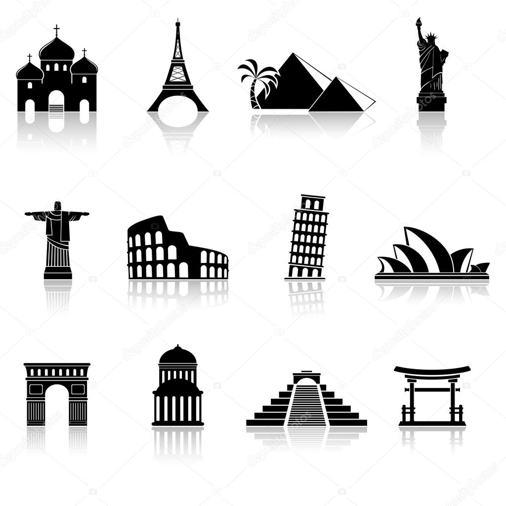 World famous buildings abstract silhouettes — Stock Vector © fad82.