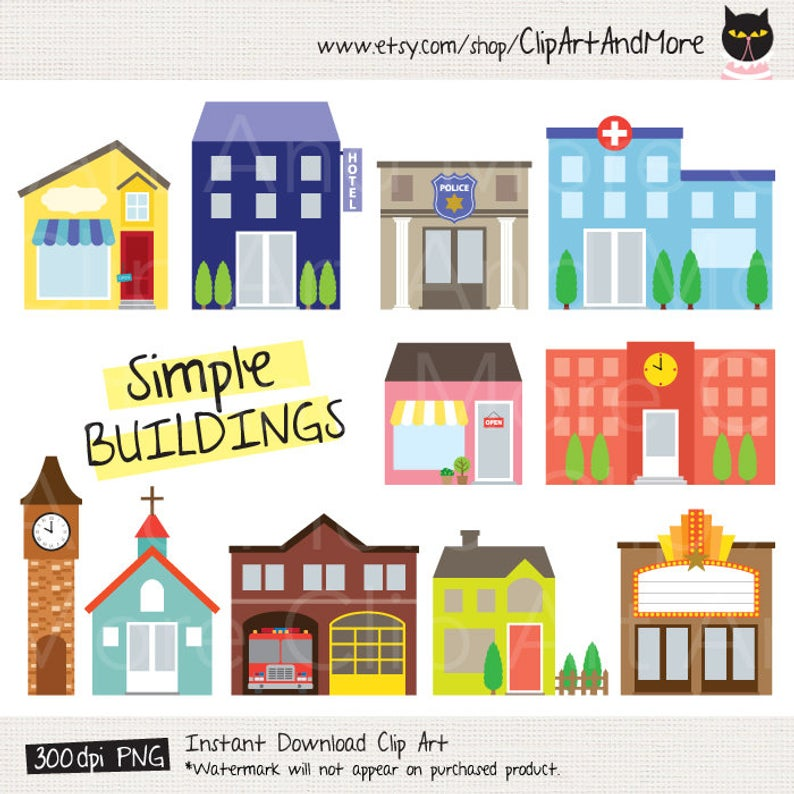 Building Clipart Fire Station Clipart Police Station Clipart Shop Store  Clip Art Church Clipart Movie Theater Clipart House Clip Art.