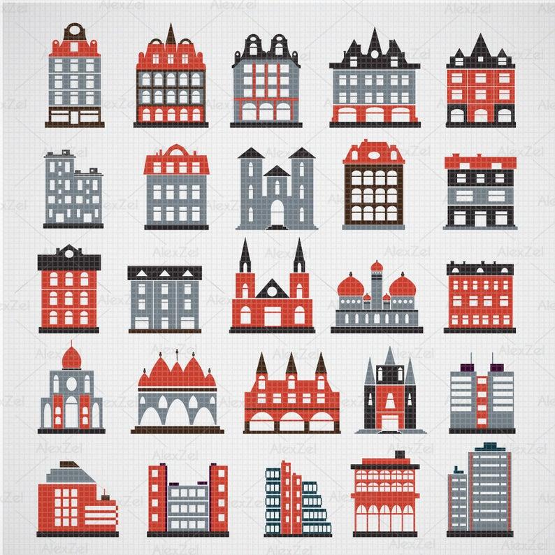 Building clipart, house clipart, buildings clipart, houses clipart, home  clipart, city buildings, construction clipart, school building.