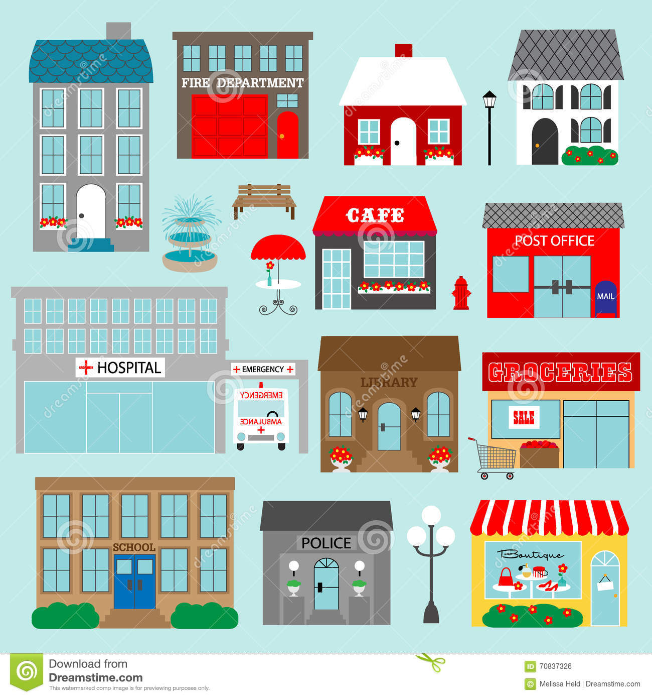 Town buildings clipart.