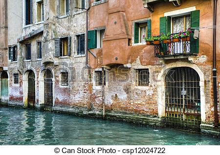 Stock Photo of Canal and old buildings, Venice, Italy.