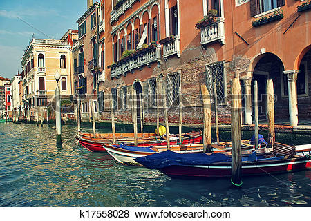 Pictures of Boats and old buildings on Grand Canal in Venice.