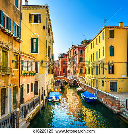 Stock Photo of Venice cityscape, buildings, boats, water canal and.