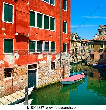 Picture of Venice cityscape, water canal, boats and traditional.