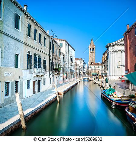Stock Photos of Venice cityscape, Campo San Barnaba water canal.