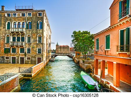 Stock Photo of Venice cityscape, boats, water canal, bridge and.