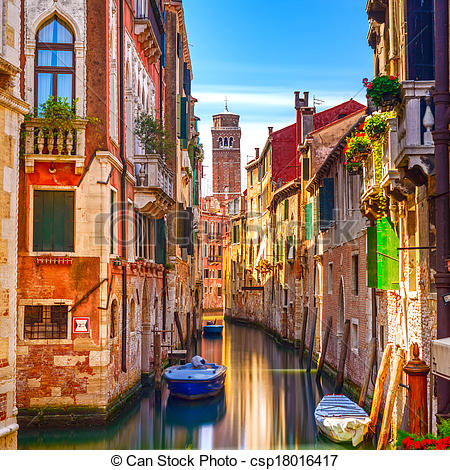 Stock Photography of Venice cityscape, narrow water canal.