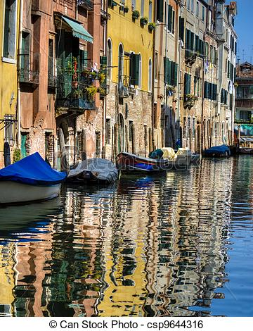 Stock Image of Canal and old buildings, Venice, Italy.