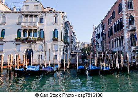 Stock Photography of goldola boat parking in front of building in.