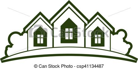 Vector of Abstract vector illustration of country houses with.