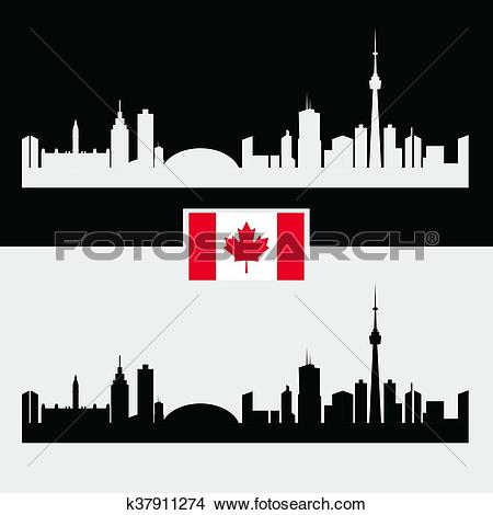 Clipart of Canada silhouette with Canadian famous city buildings.