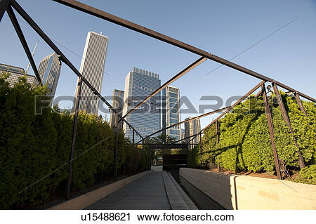Stock Photography of Buildings on horizon in Chicago, as viewed.