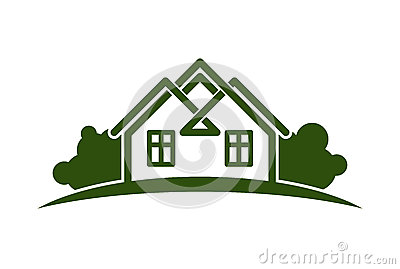 Abstract Vector Illustration Of Country Houses With Horizon Line.