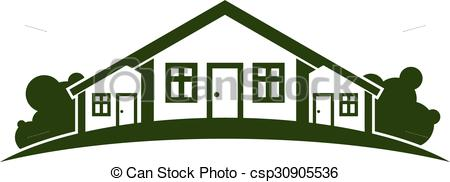 Vectors of Abstract vector illustration of country houses with.