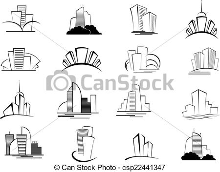 EPS Vector of Set of stylized outline building icons.
