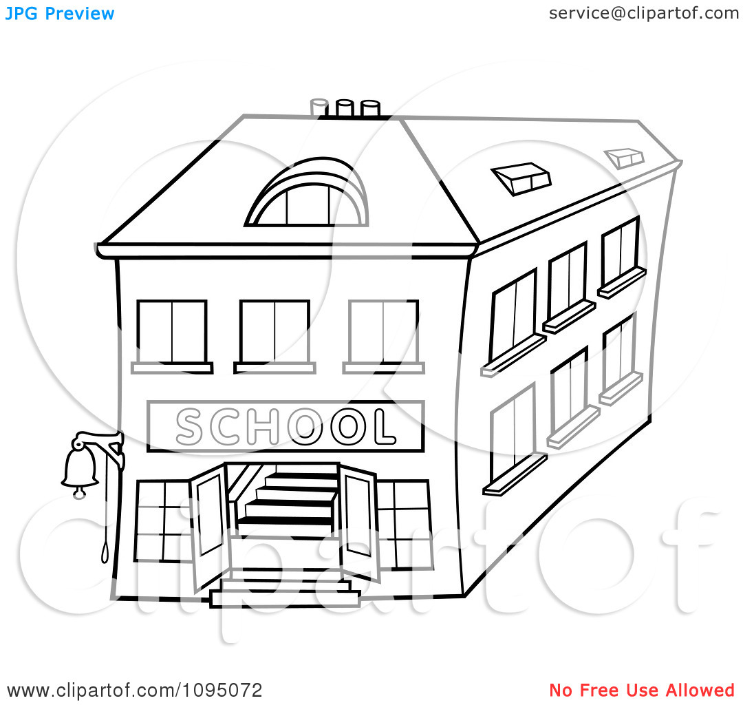 Clipart Outlined Two Story School Building.