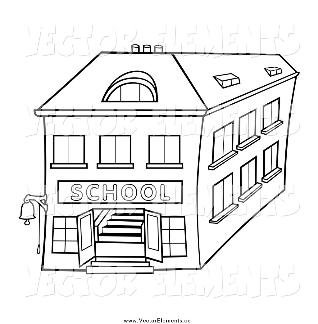 School Building Black And White Drawing | School Building