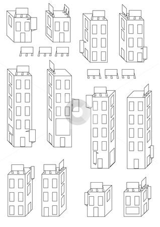 Buildings and Signs Outline stock vector.