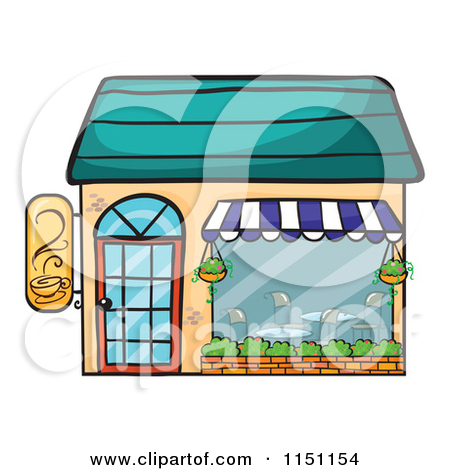 Cartoon of a Rainbow over a Cafe with Outdoor Seating.