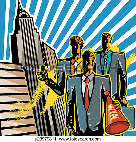 Clipart of Business people standing outside office buildings.