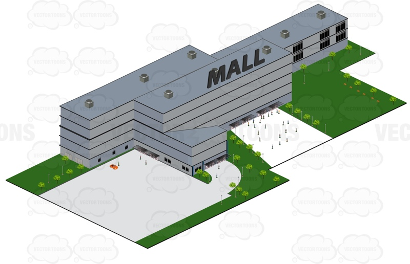 Large Shopping Mall With People Outside The Building Cartoon Clipart.
