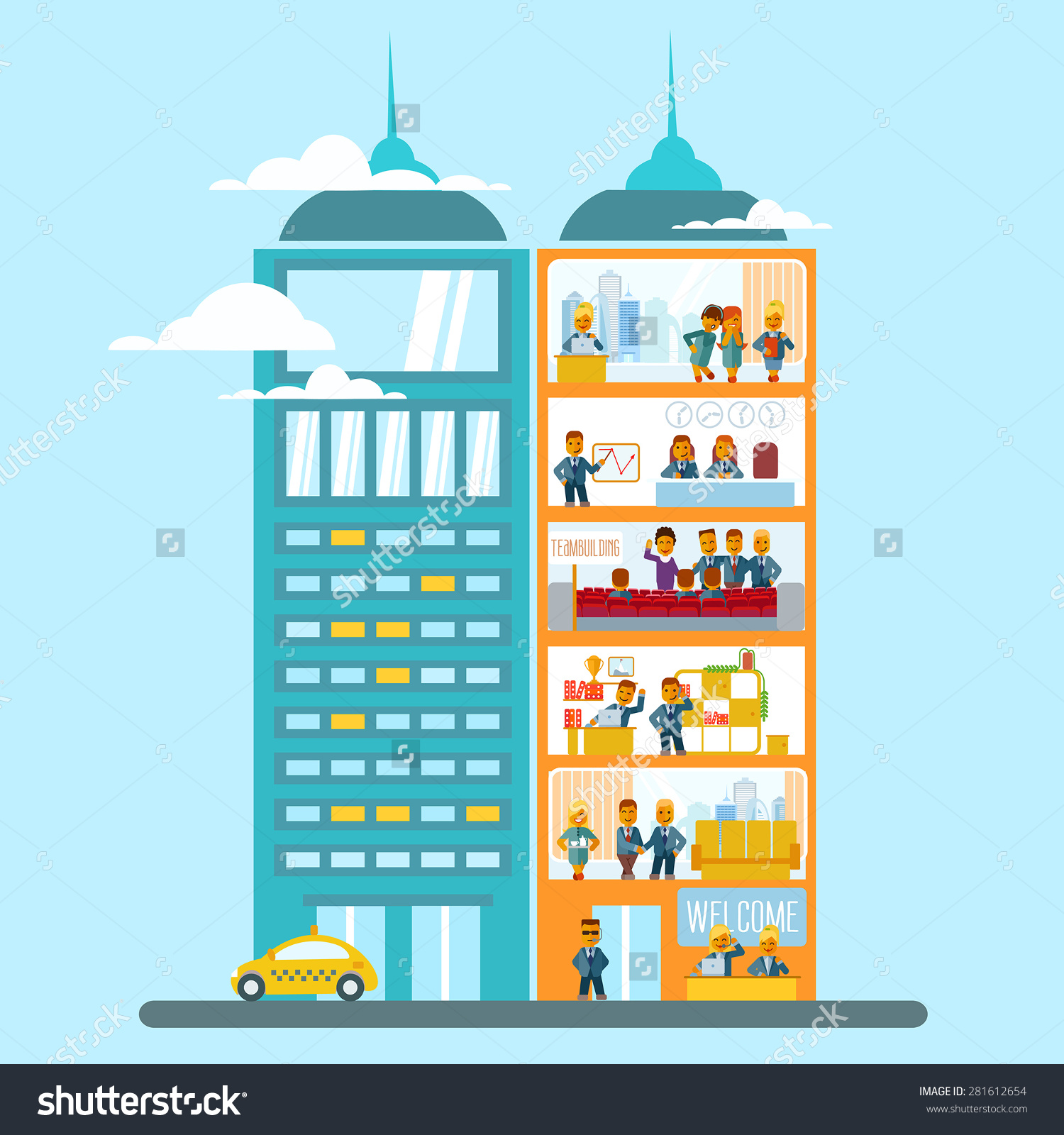 Modern Office Building Cartoon Flat Style Stock Vector 281612654.