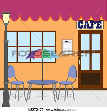 Drawings of Tables and chairs under canopy by buildings at.