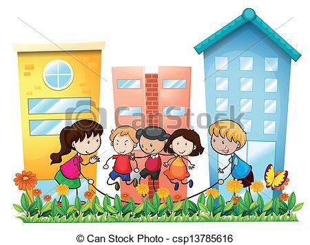Buildings kids clipart.