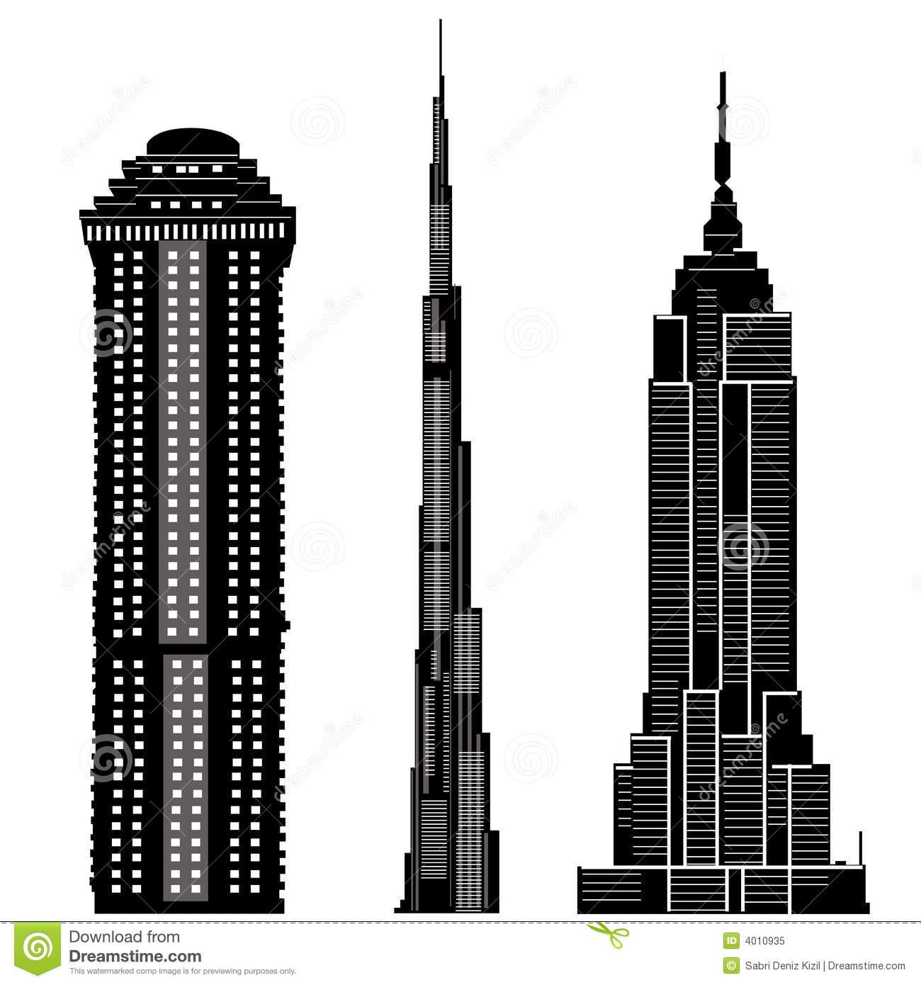 Skyscraper Clipart Black And White.