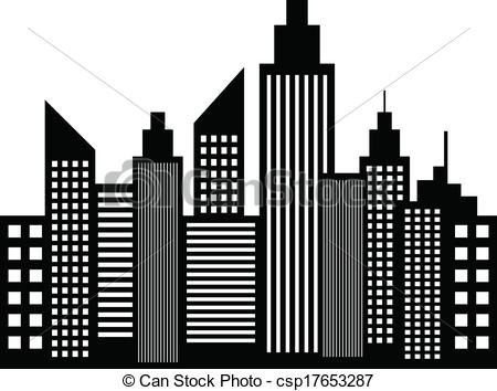 Vector of Modern City Skyscrapers Buildings Silhouettes Vector.