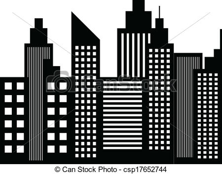 EPS Vector of Modern City Skyscrapers Buildings Silhouettes Vector.
