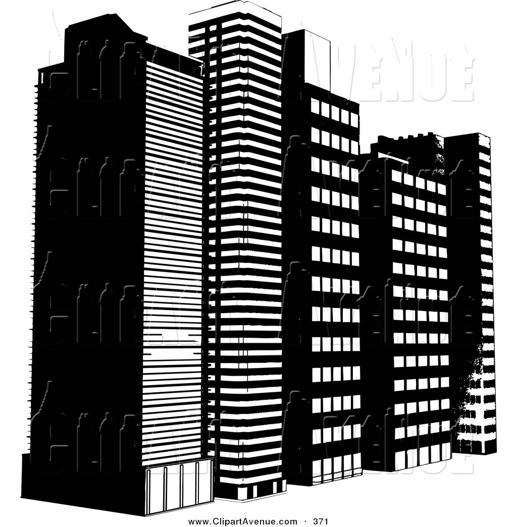 Avenue Clipart of a Row of Tall City Skyscraper or Highrise.