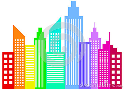 City With Buildings And Skyscrapers. Royalty Free Stock Images.