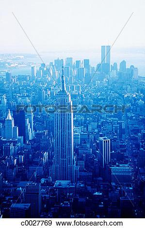 Stock Photograph of blue, aerial, city, urban, skyscraper, new.