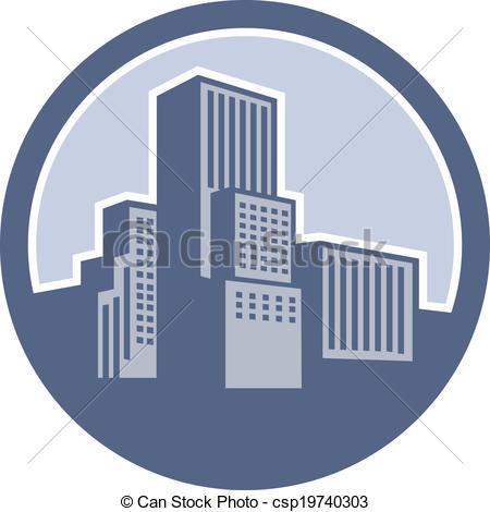 Vector Clipart of Urban Skyscraper Buildings Circle.