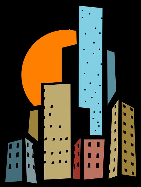 Free vector graphic: Buildings, City, Sun, Skyscrapers.