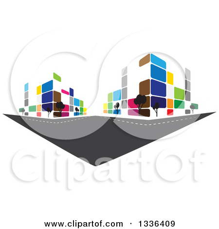 Clipart of Black and Gray Urban Commercial Skyscraper Buildings.