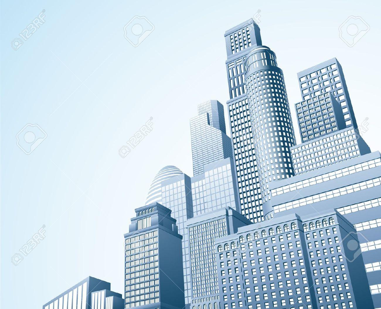 Illustration Of Urban Skyscraper Skyline Of Office Blocks Royalty.