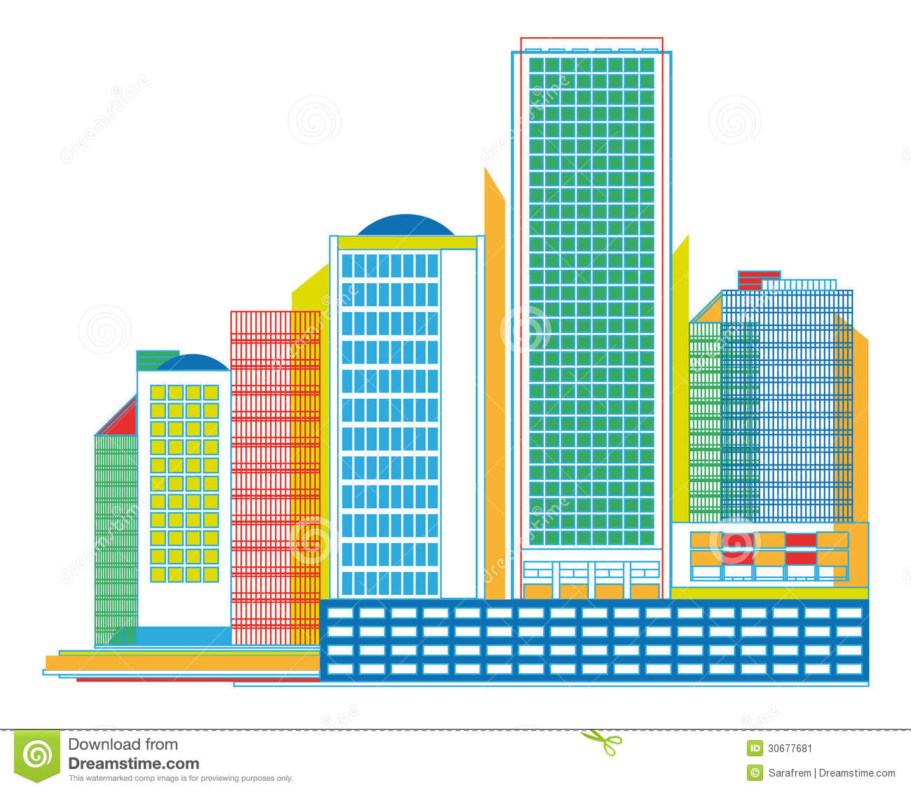 Colorful Urban Panorama With Skyscrapers.