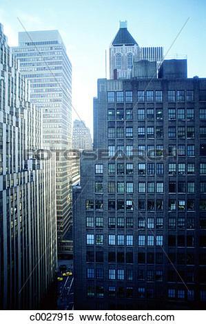 Stock Image of blue, city, urban, skyscraper, window, new york.