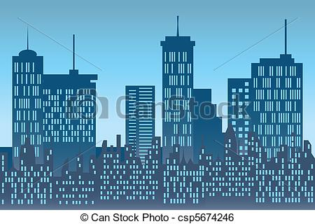 Clip Art Vector of Skyscrapers at urban skyline.