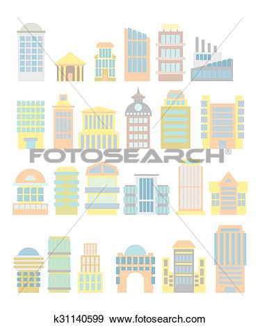 Clip Art of Set Business Property: shopping center and hospital.
